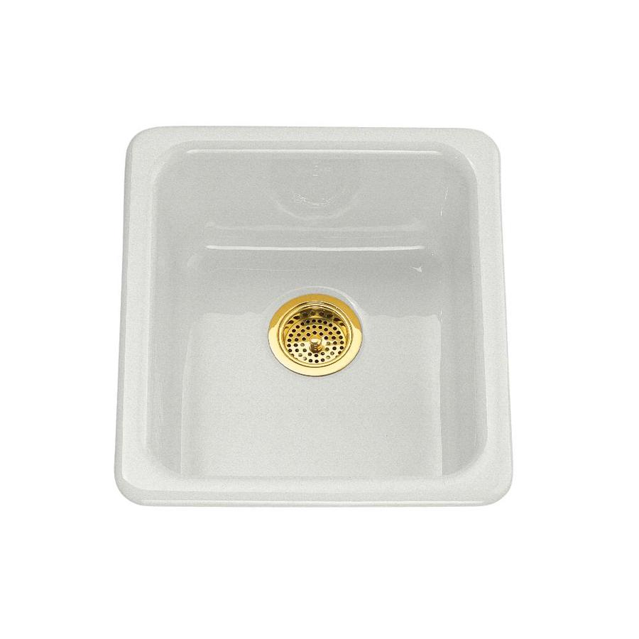 KOHLER Iron/Tones 18.75-in x 17-in Sea Salt Single-Basin Cast Iron Drop-in Residential Kitchen Sink