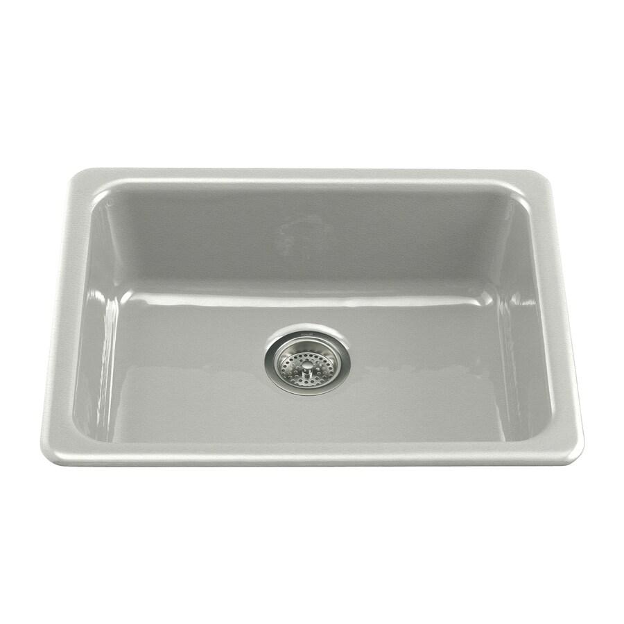 KOHLER Iron/Tones 18.75-in x 24.25-in Sea Salt Single-Basin Cast Iron Drop-in Residential Kitchen Sink