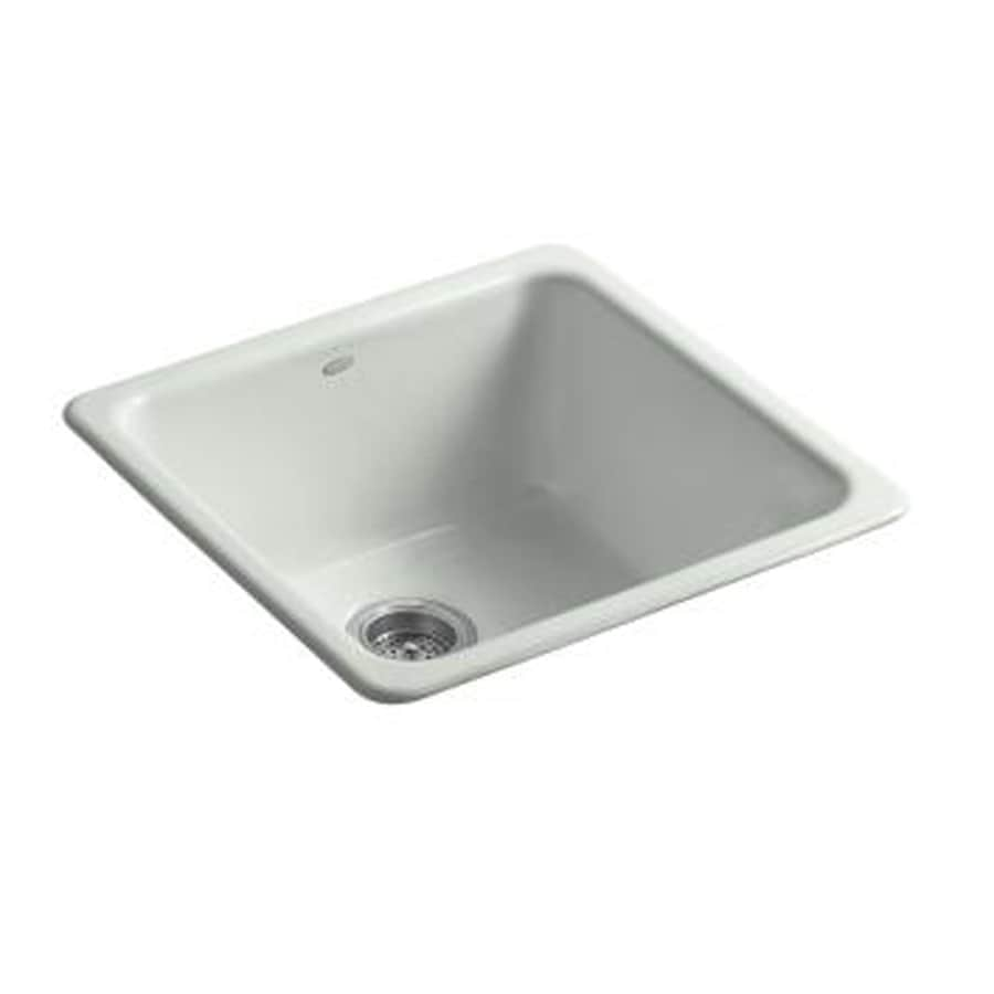KOHLER Iron/Tones 20.87-in x 20.87-in Sea Salt Single-Basin Cast Iron Drop-in or Undermount Residential Kitchen Sink