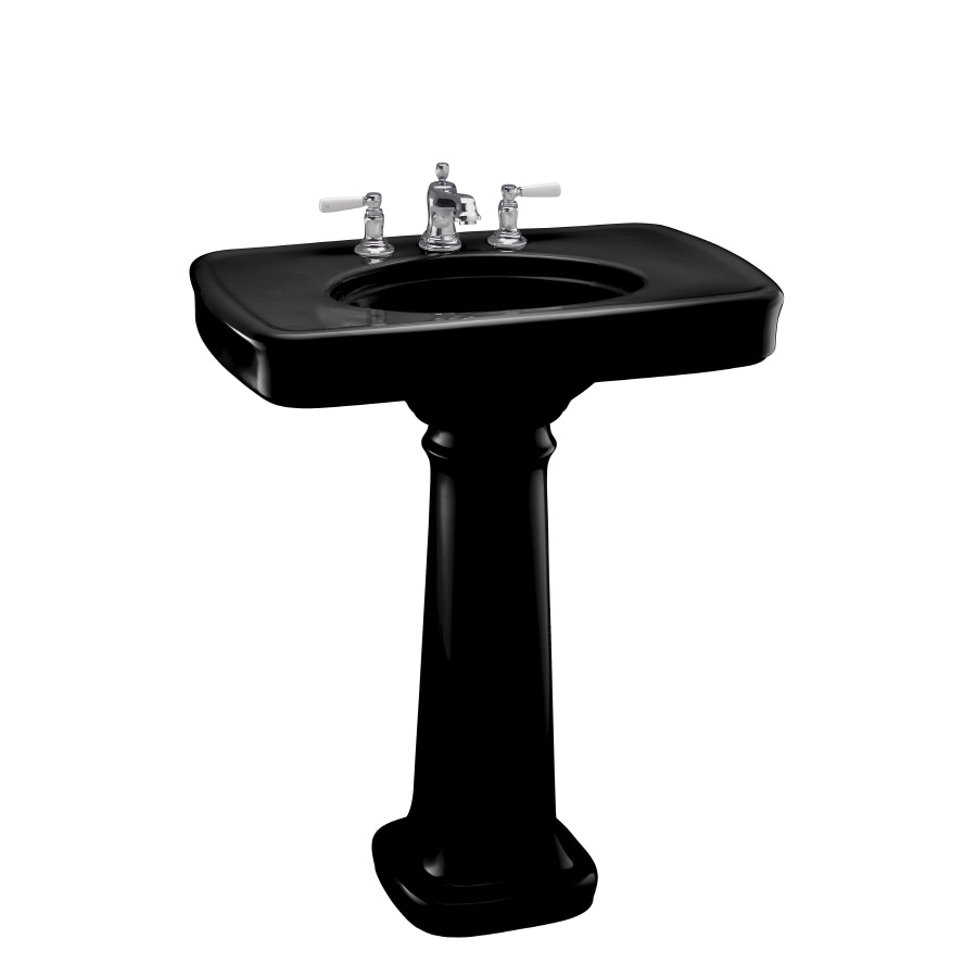KOHLER Bancroft 35.25-in H Black Black Fire Clay Pedestal Sink