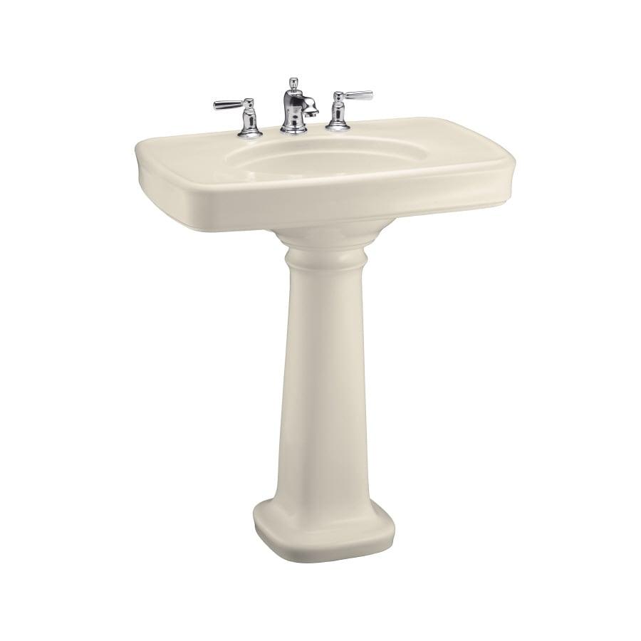 KOHLER Bancroft 35.25-in H Almond Fire Clay Pedestal Sink