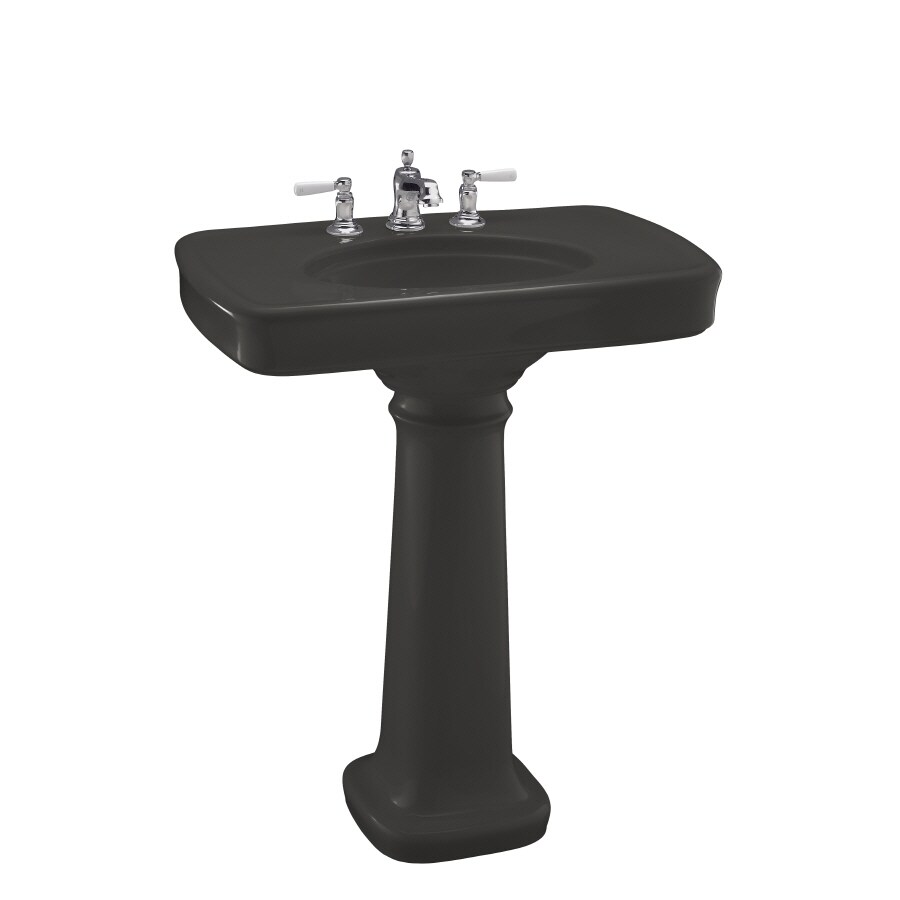 KOHLER Bancroft 35.25-in H Thunder Grey Fire Clay Pedestal Sink