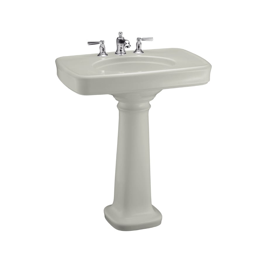 KOHLER Bancroft 35.25-in H Ice Grey Fire Clay Pedestal Sink
