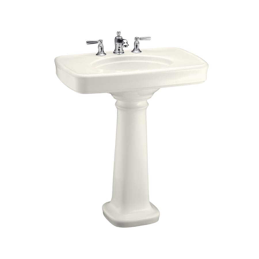 Kohler Pedestal : Shop KOHLER Bancroft 35.25-in H Biscuit Fire Clay Pedestal Sink at ...