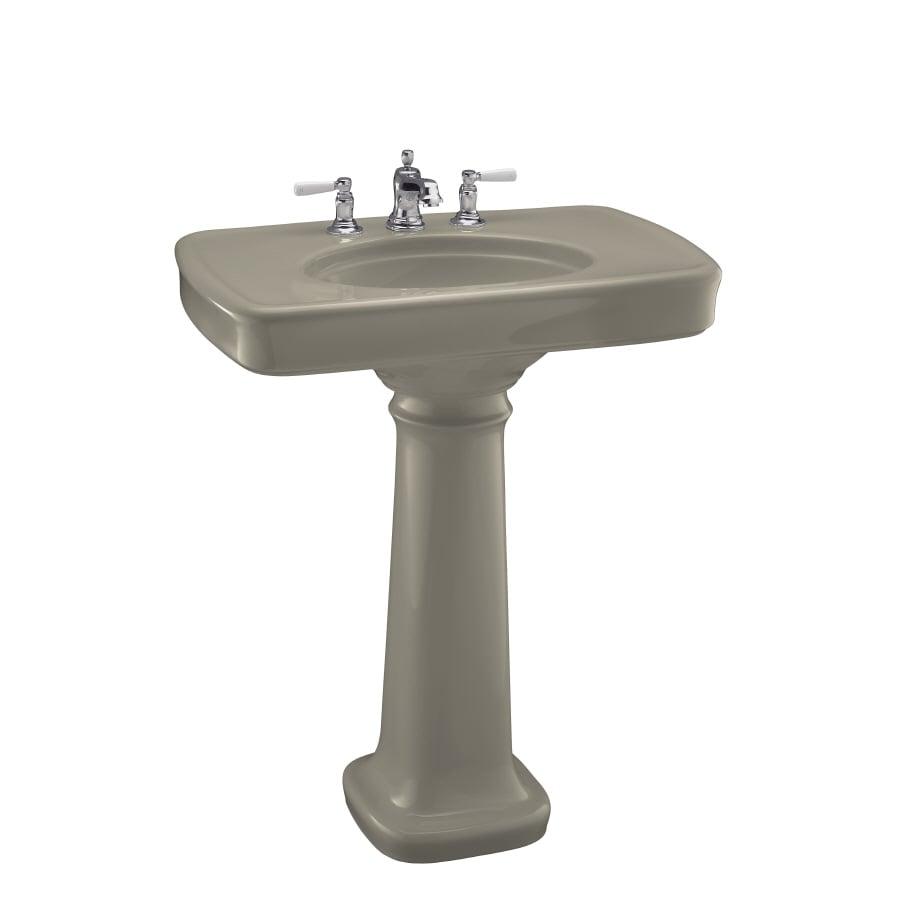 KOHLER Bancroft 35.25-in H Sandbar Fire Clay Pedestal Sink