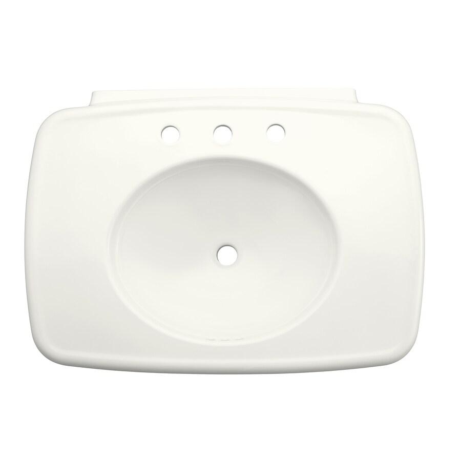 KOHLER Bancroft 30.375-in L x 22.25-in W White Fire Clay Oval Pedestal Sink Top