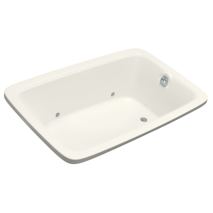 KOHLER Bancroft 66-in Biscuit Acrylic Drop-In Air Bath with Reversible Drain