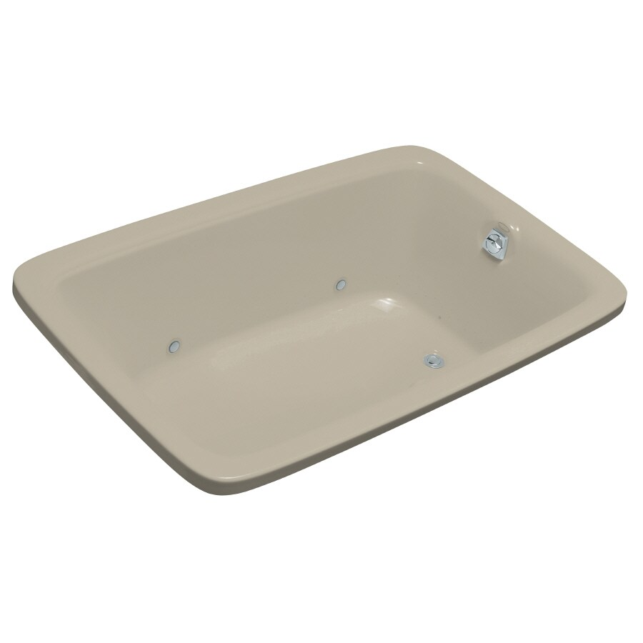 KOHLER Bancroft 66-in Sandbar Acrylic Drop-In Air Bath with Reversible Drain