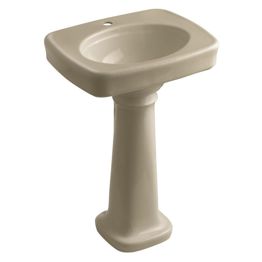 KOHLER Bancroft 35.25-in H Mexican Sand Vitreous China Pedestal Sink