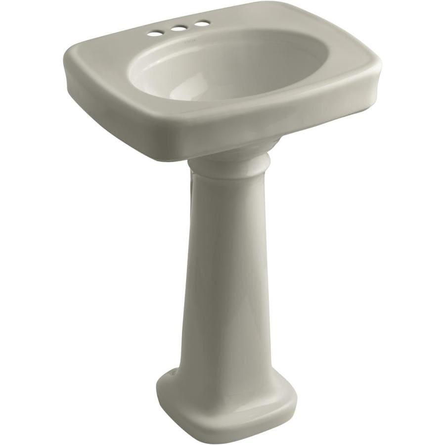 KOHLER Bancroft 35.25-in H Sandbar Vitreous China Pedestal Sink