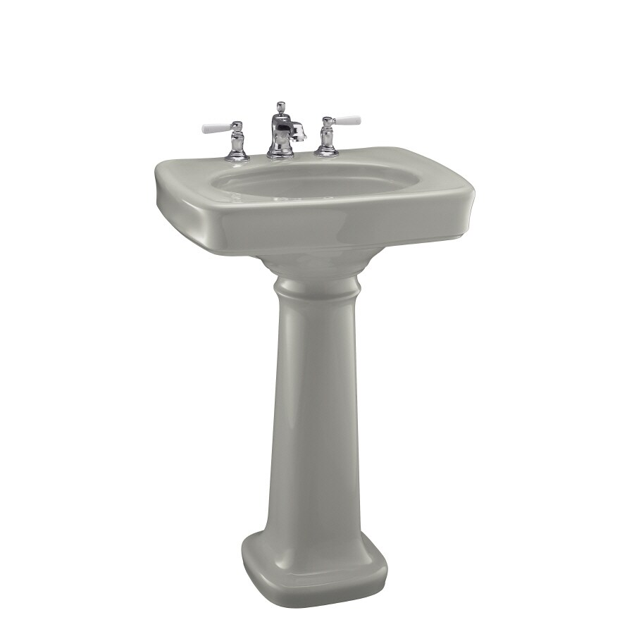 Bancroft Pedestal Sink : Shop KOHLER Bancroft 35.25-in H Ice Grey Vitreous China Pedestal Sink ...