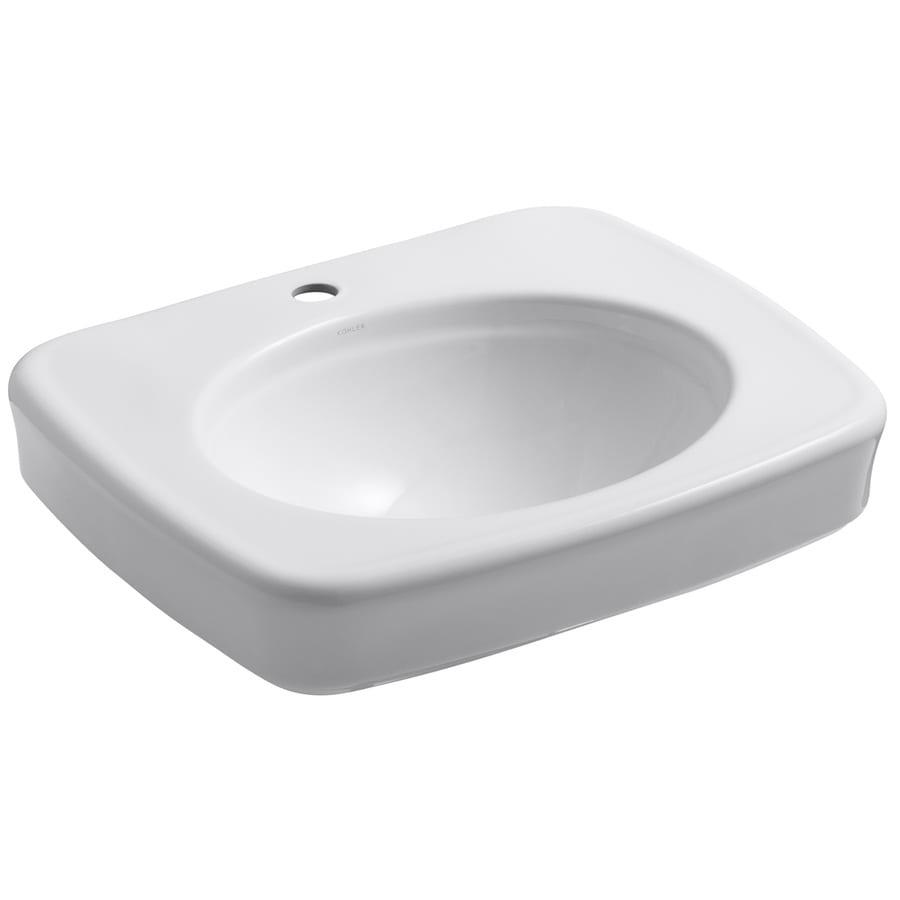 KOHLER Bancroft 24-in L x 21-in W White Vitreous China Rectangular Pedestal Sink Top
