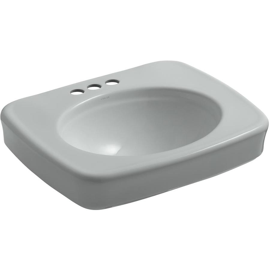 KOHLER Bancroft 24-in L x 21.00-in W Ice Grey Vitreous China Rectangular Pedestal Sink Top