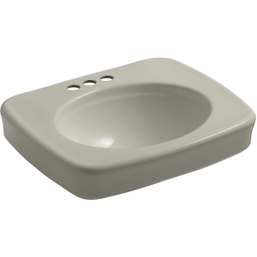KOHLER Bancroft 24-in L x 21-in W Sandbar Vitreous China Rectangular Pedestal Sink Top