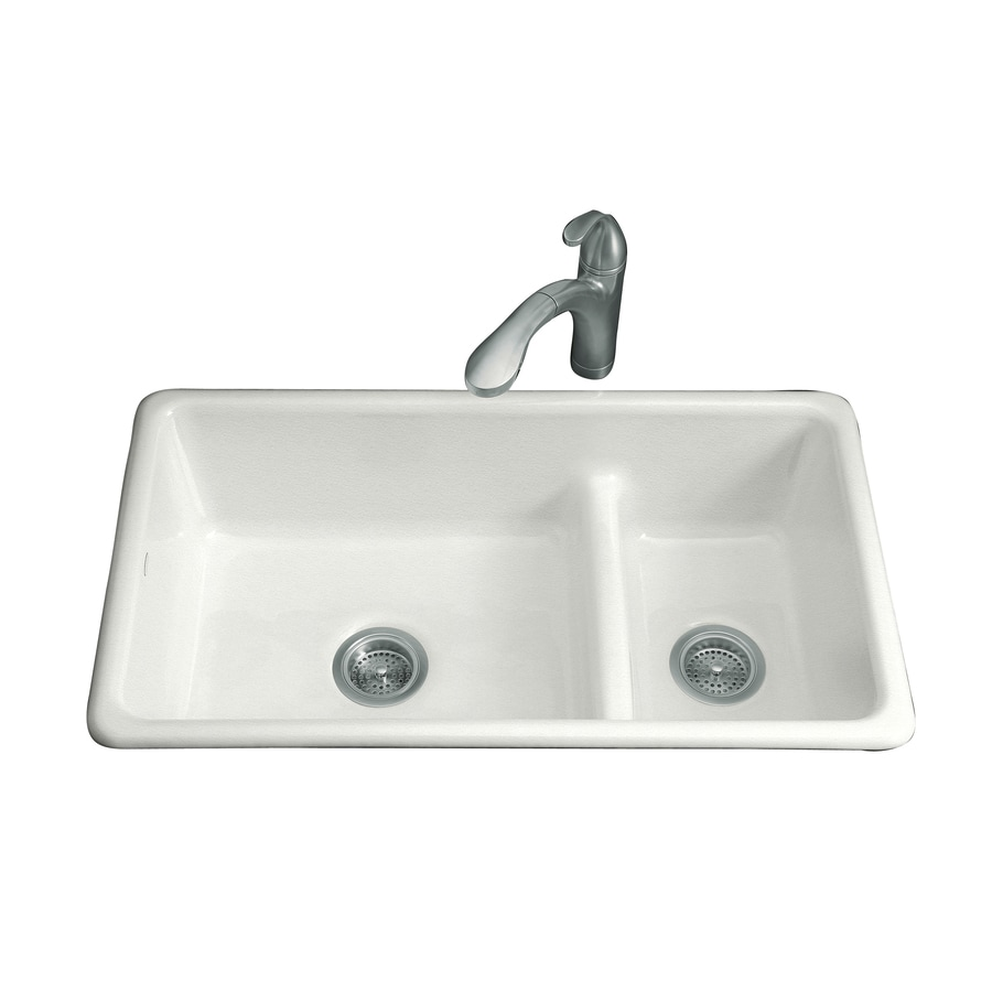 KOHLER Iron/Tones 18.75-in x 33-in Sea Salt Double-Basin Cast Iron Drop-in or Undermount Residential Kitchen Sink