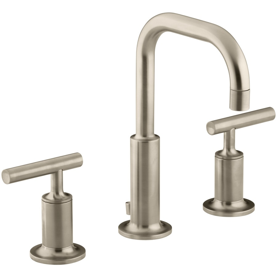 Shop Kohler Purist Vibrant Brushed Bronze 2 Handle Widespread Watersense Bathroom Faucet Drain