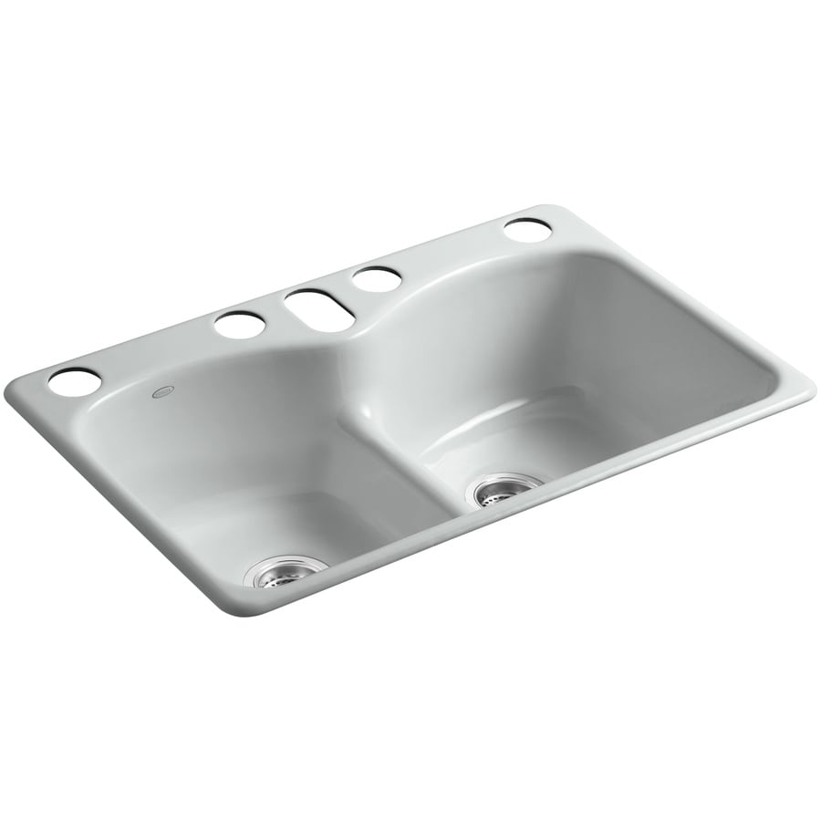 KOHLER Langlade 22-in x 33-in Ice Grey Double-Basin Cast Iron Undermount 5-Hole Residential Kitchen Sink