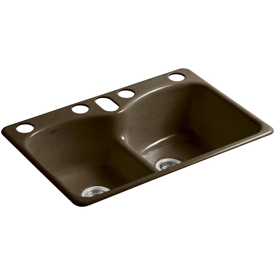 ... Tan Double-Basin Cast Iron Undermount 5-Hole Residential Kitchen Sink