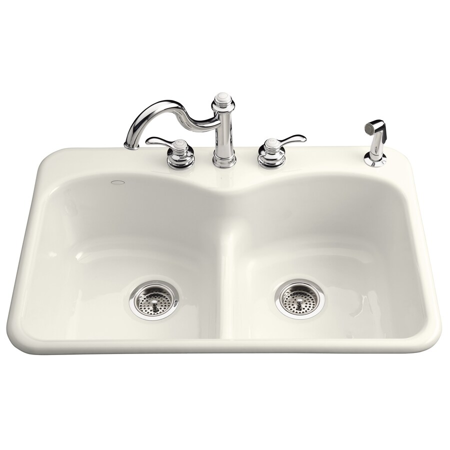 KOHLER Langlade 22-in x 33-in Biscuit Double-Basin Cast Iron Drop-in 1-Hole Residential Kitchen Sink