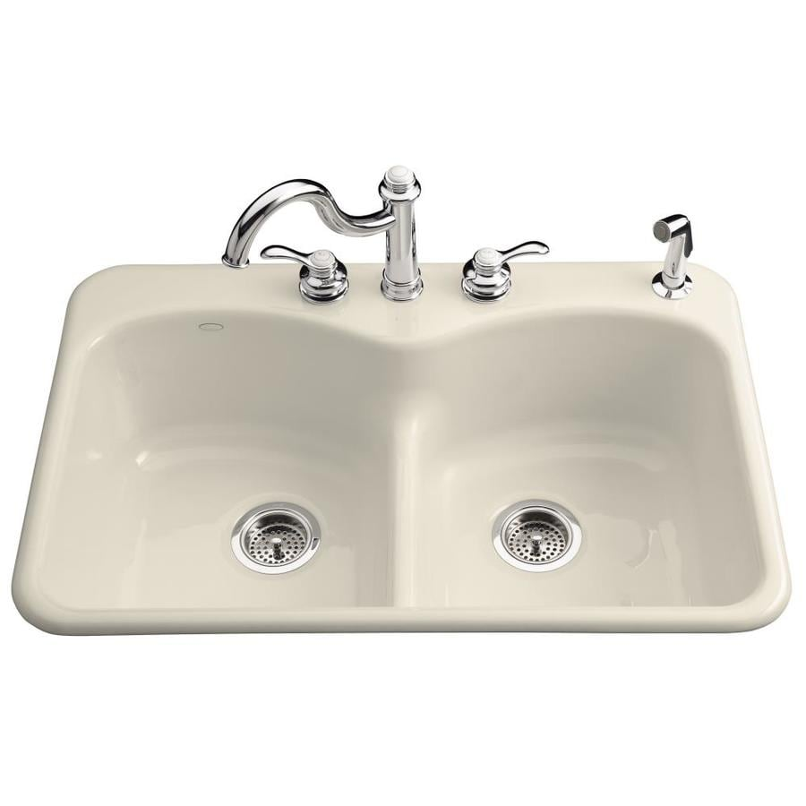 KOHLER Langlade 22-in x 33-in Almond Double-Basin Cast Iron Drop-in 1-Hole Residential Kitchen Sink