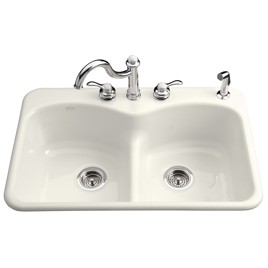KOHLER Langlade 22-in x 33-in Biscuit Double-Basin Cast Iron Drop-in 3-Hole Residential Kitchen Sink