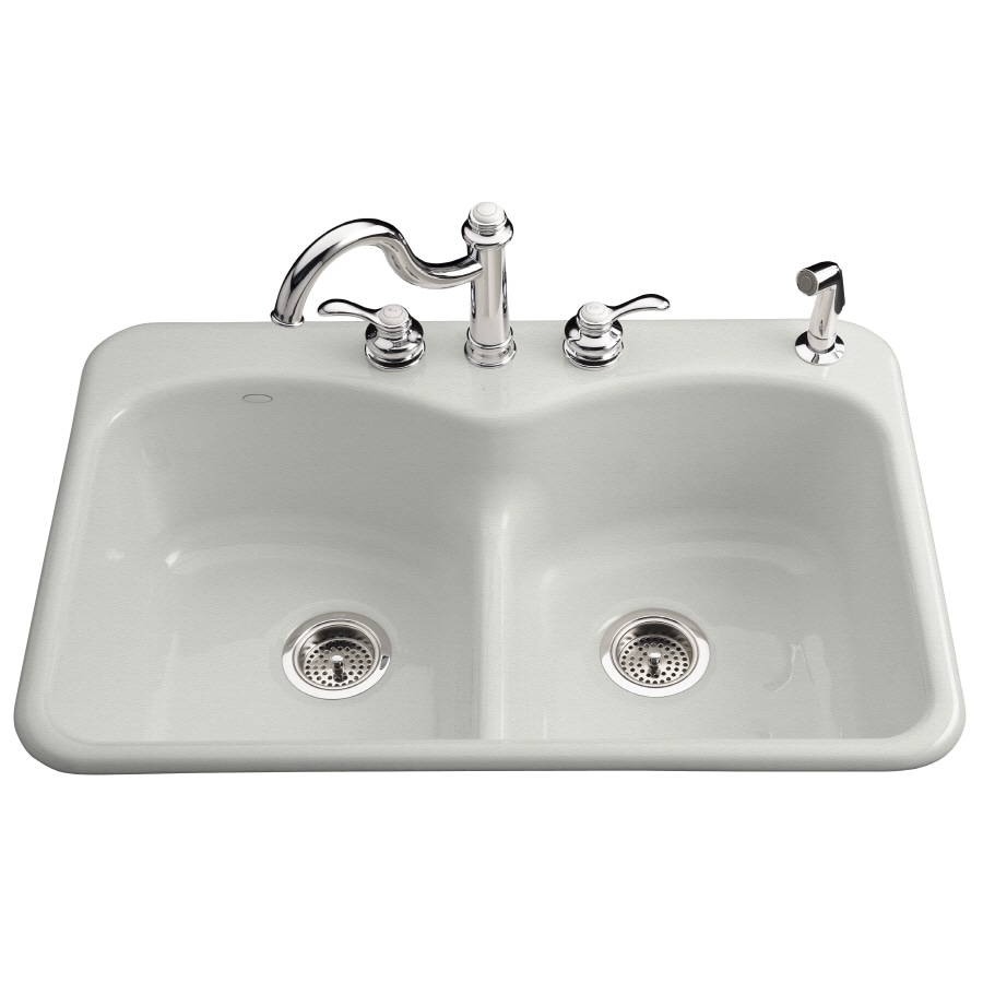 KOHLER Langlade 22-in x 33-in Sea Salt Double-Basin Cast Iron Drop-in 1-Hole Residential Kitchen Sink
