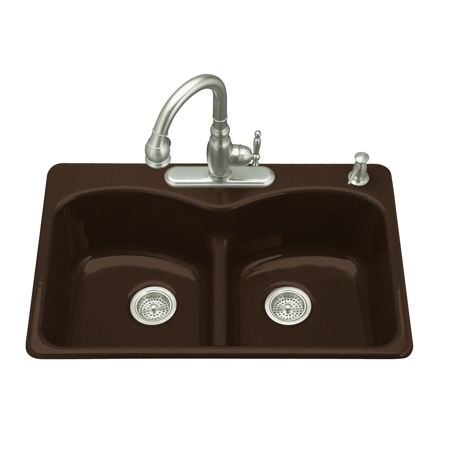 KOHLER Langlade 22-in x 33-in Black'N Tan Double-Basin Cast Iron Drop-in 1-Hole Residential Kitchen Sink