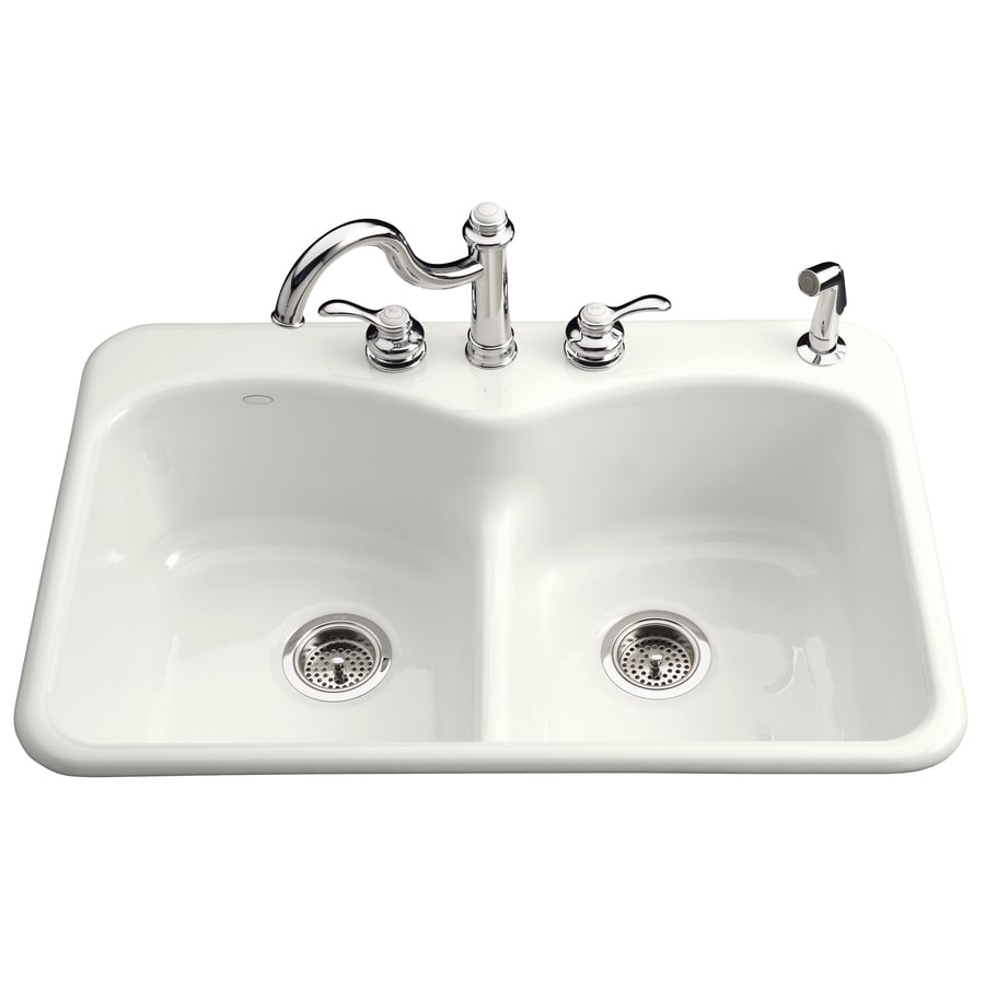 KOHLER Langlade 22-in x 33-in White Double-Basin Cast Iron Drop-in 1-Hole Residential Kitchen Sink