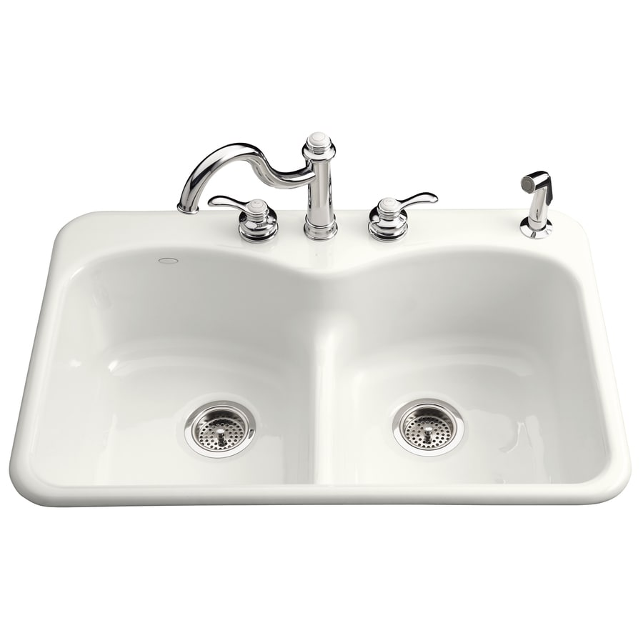 Shop kohler langlade 22 in x 33 in white double basin cast - Cast iron kitchen sink manufacturers ...