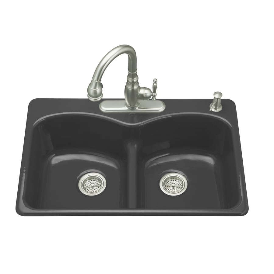 KOHLER Langlade 22-in x 33-in Black Black Double-Basin Cast Iron Drop-in 1-Hole Residential Kitchen Sink