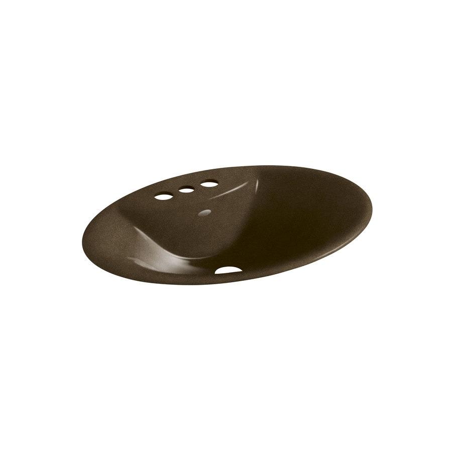 KOHLER Maratea Black 'N Tan Cast Iron Drop-in Oval Bathroom Sink