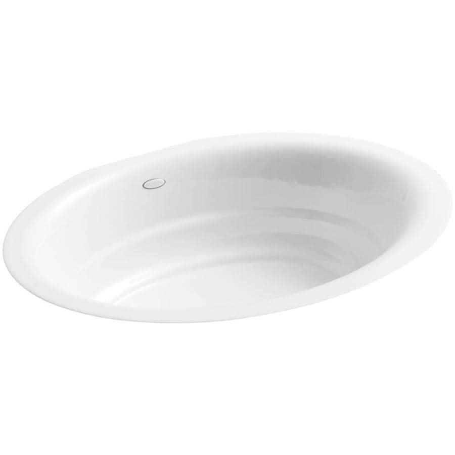 Shop Kohler Garamond White Cast Iron Undermount Oval Bathroom Sink At