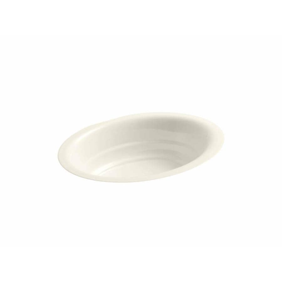 Shop kohler garamond biscuit cast iron undermount oval for Bathroom undermount sinks