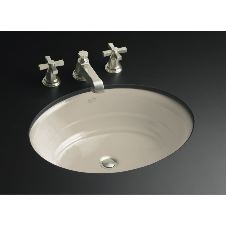 Shop Kohler Garamond Sandbar Cast Iron Undermount Oval Bathroom Sink At