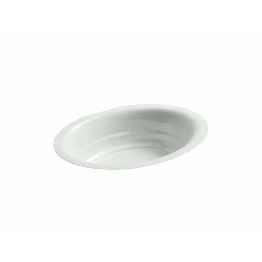 KOHLER Garamond Sea Salt Cast Iron Undermount Oval Bathroom Sink