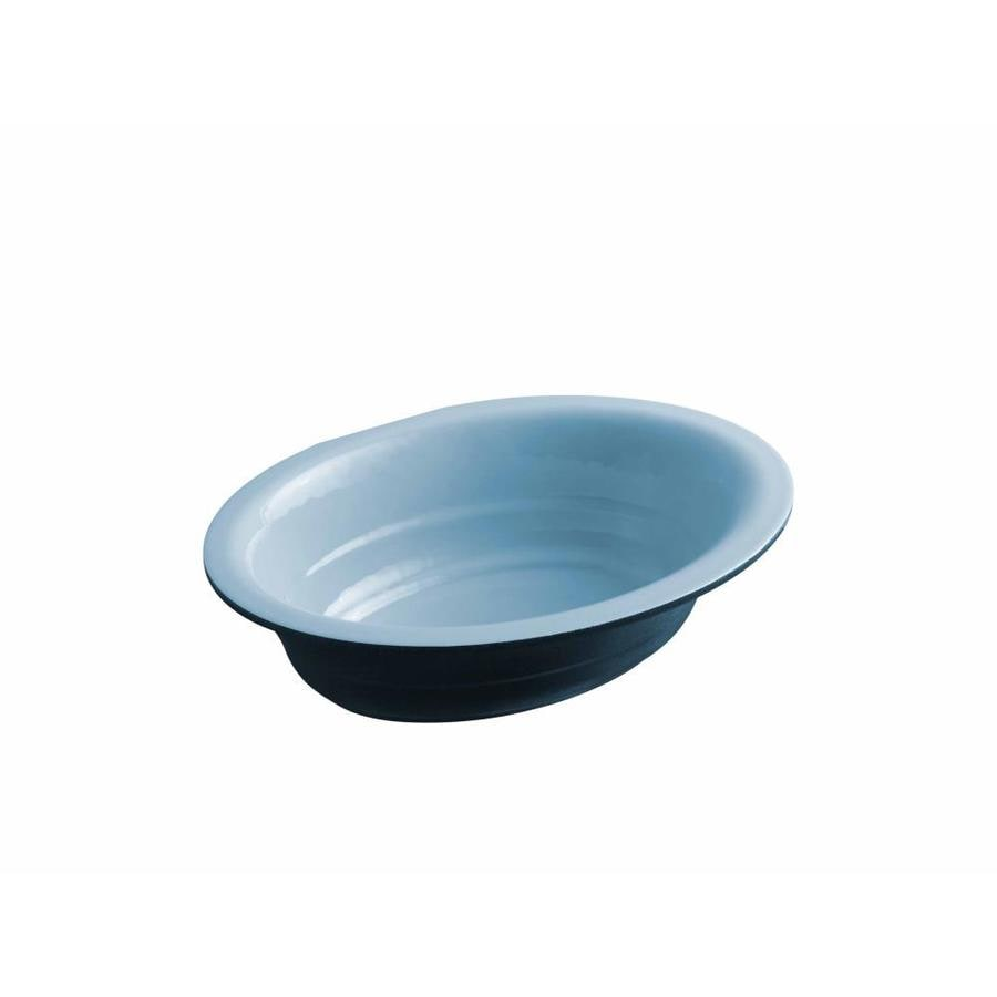 Shop Kohler Garamond Vapour Blue Cast Iron Undermount Oval Bathroom Sink At