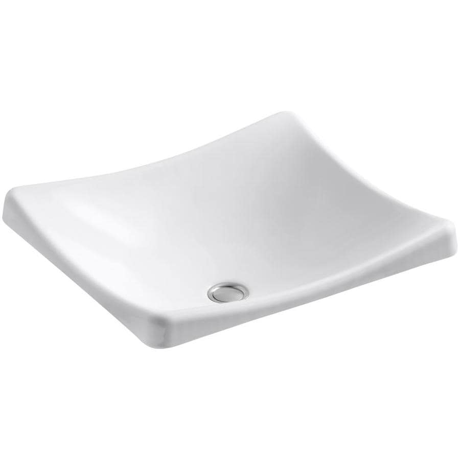 KOHLER Demilav White Cast Iron Drop-in Rectangular Bathroom Sink