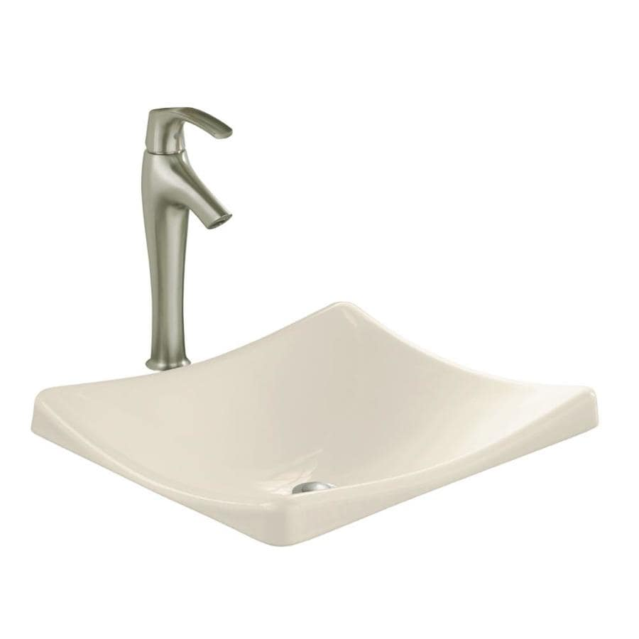 KOHLER Demilav Almond Cast Iron Drop-in Rectangular Bathroom Sink