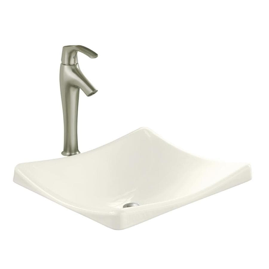 KOHLER Demilav Biscuit Cast Iron Drop-in Rectangular Bathroom Sink