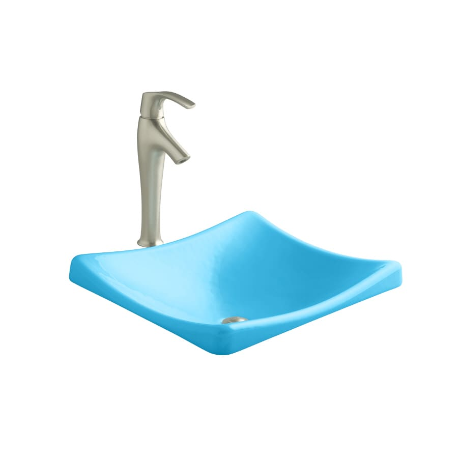 KOHLER Demilav Vapour Blue Cast Iron Drop-in Rectangular Bathroom Sink