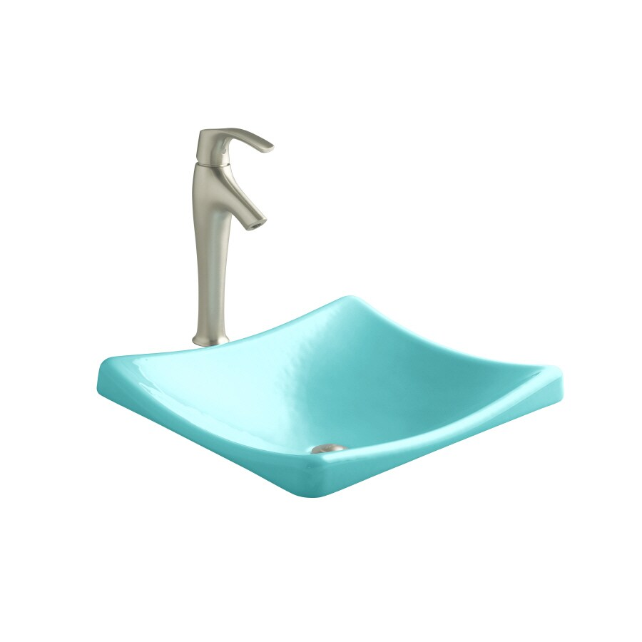 KOHLER Demilav Vapour Green Cast Iron Drop-in Rectangular Bathroom Sink