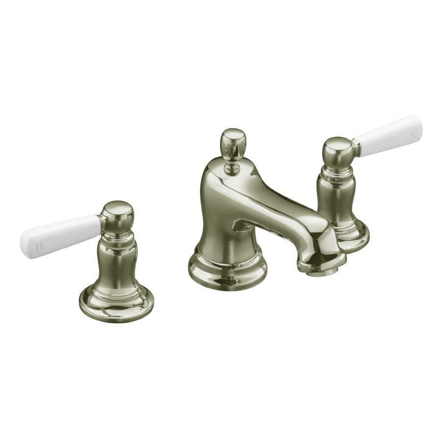 KOHLER Bancroft Vibrant Polished Nickel 2-Handle Widespread WaterSense Bathroom Faucet (Drain Included)