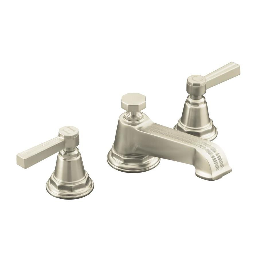 Shop Kohler Pinstripe Vibrant Brushed Nickel 2 Handle Widespread Watersense Bathroom Faucet