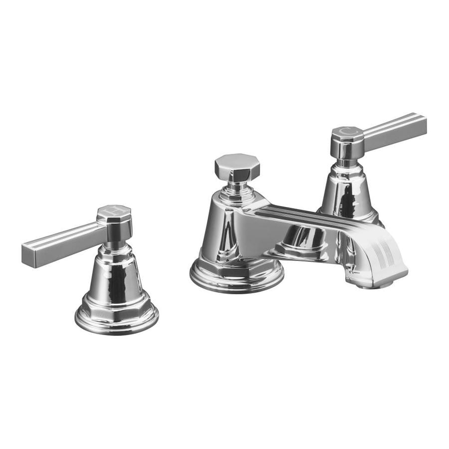 Shop KOHLER Pinstripe Polished Chrome Handle Widespread Commercial - Kohler commercial bathroom faucets