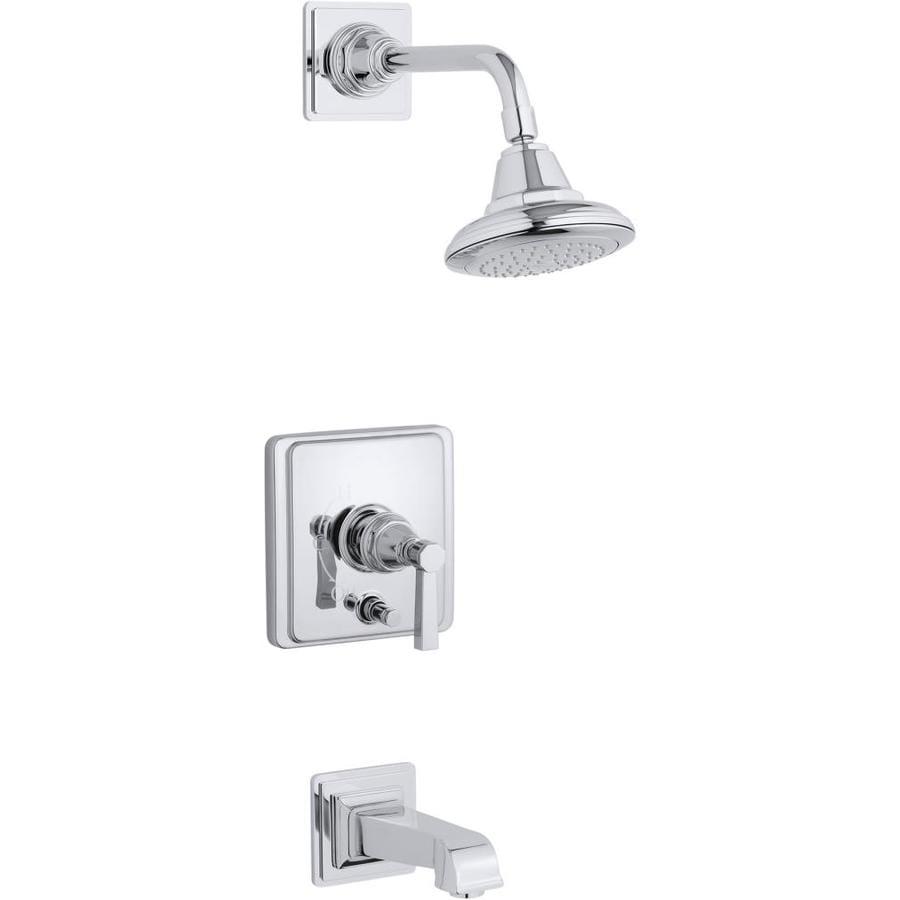 Shop Kohler Pinstripe Polished Chrome 1 Handle Bathtub And Shower Faucet Trim Kit With Single