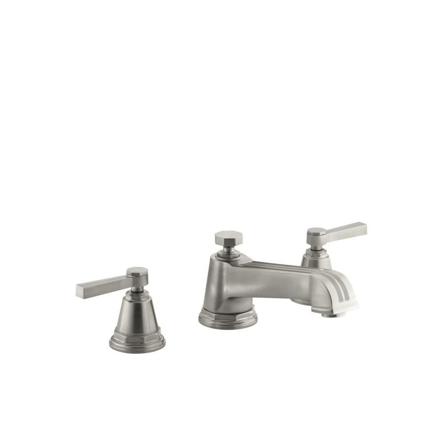 KOHLER Pinstripe Vibrant Brushed Nickel 2-Handle Fixed Deck Mount Bathtub Faucet