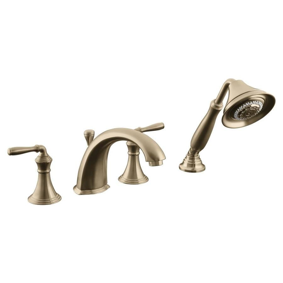 Brushed Brass Faucet : ... Brushed Bronze 2-Handle Fixed Deck Mount Bathtub Faucet at Lowes.com