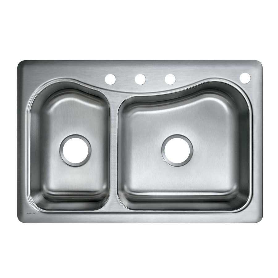 KOHLER Staccato 22 In X 33 In Double Basin Stainless Steel Drop