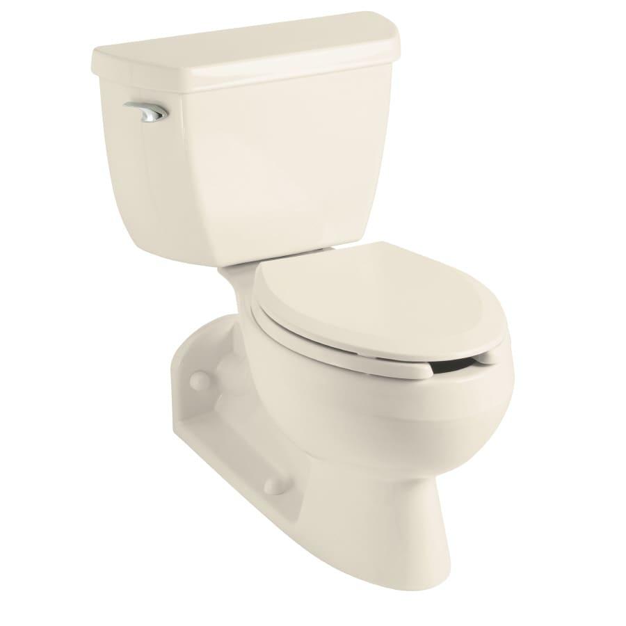 KOHLER Barrington 1.6-GPF Almond Elongated Standard Height 2-Piece Toilet