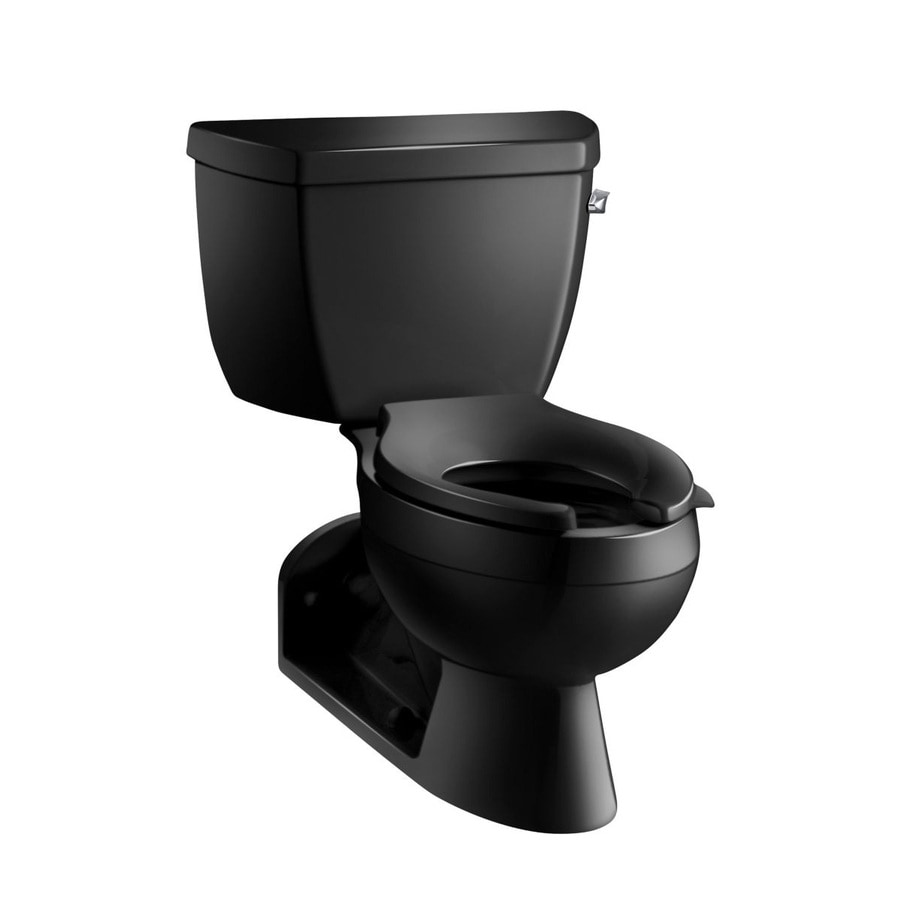 KOHLER Barrington Black Black  Elongated Standard Height 2-piece Toilet 4-in Rough-In Size